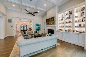 Living area with custom shelving