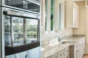 Kitchen countertop and stainless steel appliances