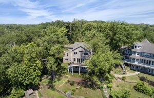 Aerial view of rear home exterior