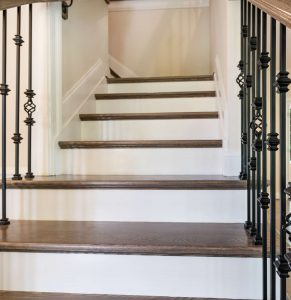 Stairs with wood and iron railing