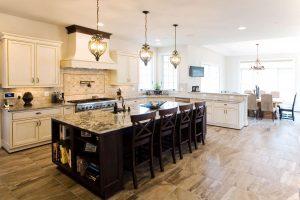Kitchen island with granite countertops