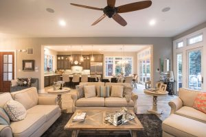 Open floor plan with living area and kitchen